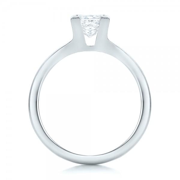 Custom Princess Cut Diamond Solitaire Engagement Ring - Finger Through View