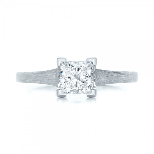 Custom Princess Cut Diamond Solitaire Engagement Ring - Top View