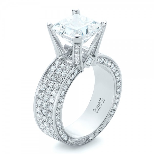 custom princess cut diamond and pave engagement ring 102276 - Wedding Rings Princess Cut