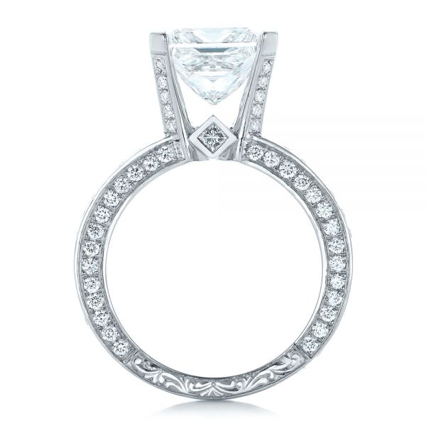 Custom Princess Cut Diamond and Pave Engagement Ring - Front View -  102276 - Thumbnail