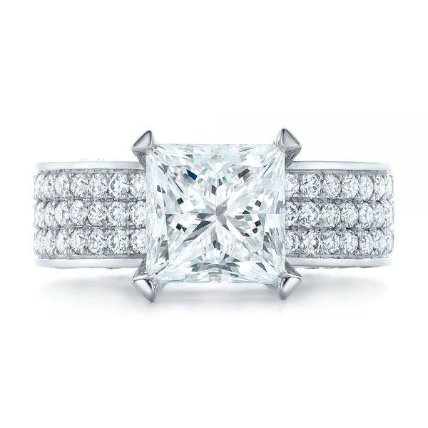 Custom Princess Cut Diamond and Pave Engagement Ring - Top View -  102276 - Thumbnail