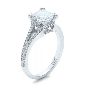 Custom Princess Cut Diamond and Split Shank Engagement Ring - Image