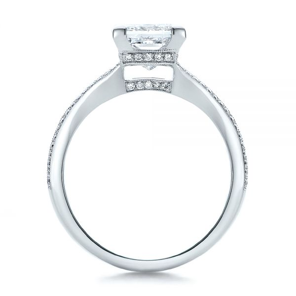Custom Princess Cut Diamond and Split Shank Engagement Ring - Front View -  100807 - Thumbnail