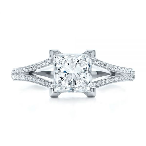 18k White Gold 18k White Gold Custom Princess Cut Diamond And Split Shank Engagement Ring - Top View -  100807