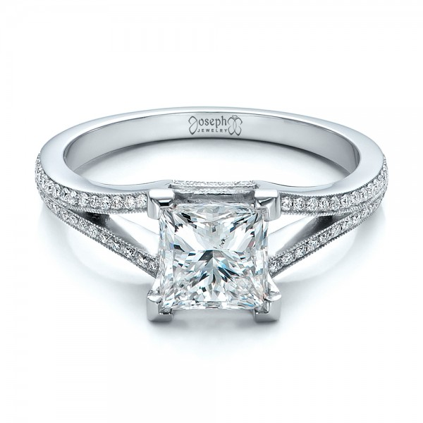 Custom Princess Cut Diamond and Split Shank Engagement Ring