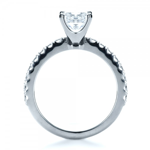 Custom Princess Cut Engagement Ring - Finger Through View