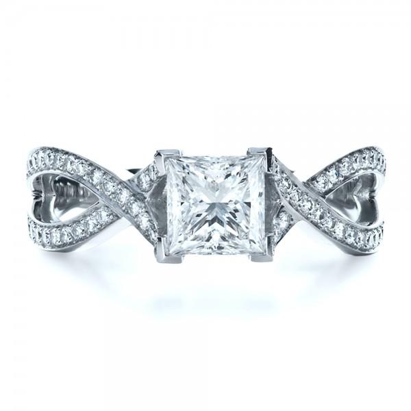 Custom Princess Cut Engagement Ring - Top View