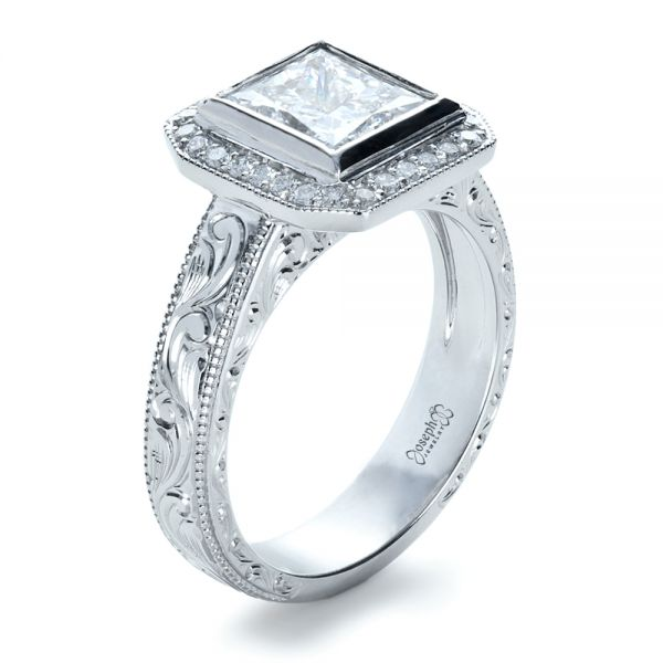 Custom Princess Cut Halo Engagement Ring