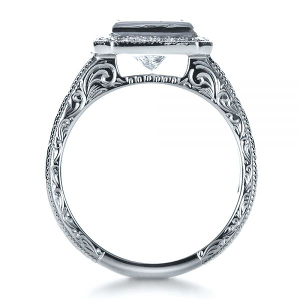 14k White Gold Custom Princess Cut Halo Engagement Ring - Front View -  1209