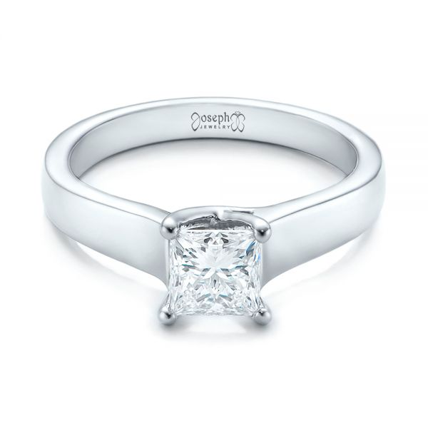 14k White Gold Custom Princess Cut Solitaire Engagement Ring - Flat View -