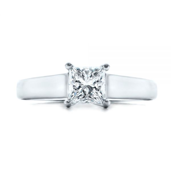 Custom Princess Cut Solitaire Engagement Ring - Top View -  101450 - Thumbnail