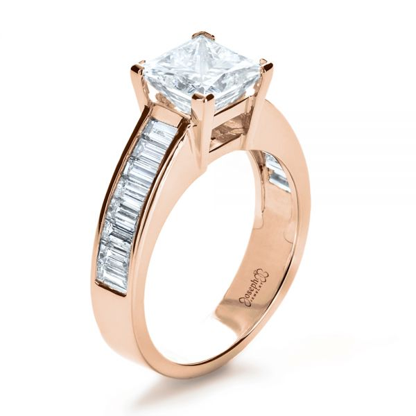14k Rose Gold 14k Rose Gold Custom Princess Cut And Baguette Diamond Engagement Ring - Three-Quarter View -