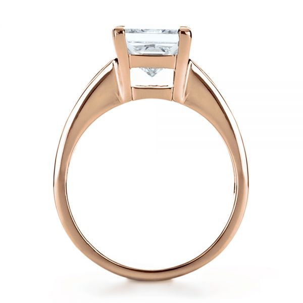 14k Rose Gold 14k Rose Gold Custom Princess Cut And Baguette Diamond Engagement Ring - Front View -
