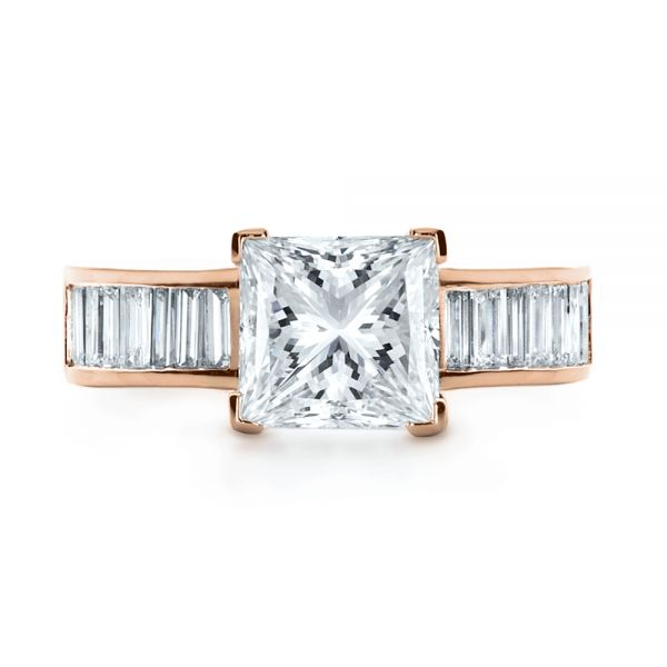 14k Rose Gold 14k Rose Gold Custom Princess Cut And Baguette Diamond Engagement Ring - Top View -