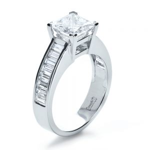 Custom Princess Cut and Baguette Diamond Engagement Ring  - Image