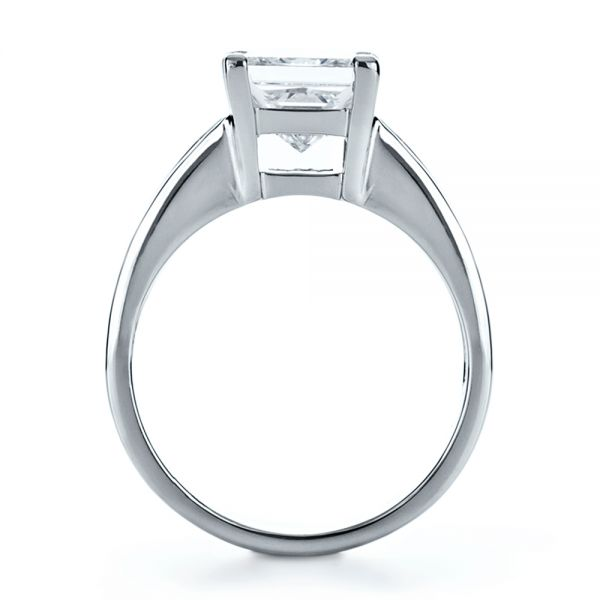 Platinum Custom Princess Cut And Baguette Diamond Engagement Ring - Front View -