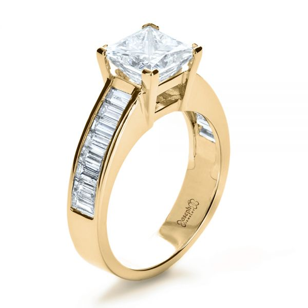 18k Yellow Gold 18k Yellow Gold Custom Princess Cut And Baguette Diamond Engagement Ring - Three-Quarter View -