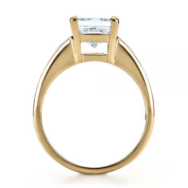 18k Yellow Gold 18k Yellow Gold Custom Princess Cut And Baguette Diamond Engagement Ring - Front View -