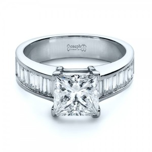 Custom Princess Cut and Baguette Diamond Engagement Ring