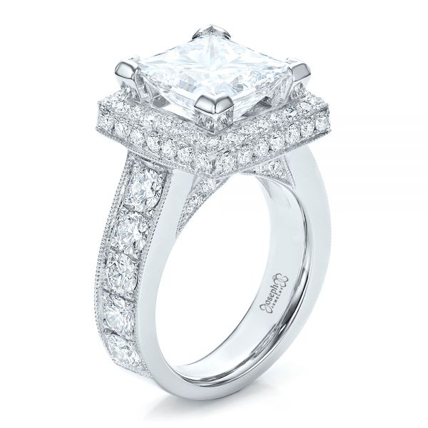 Custom Princess Cut and Halo Engagement Ring - Image