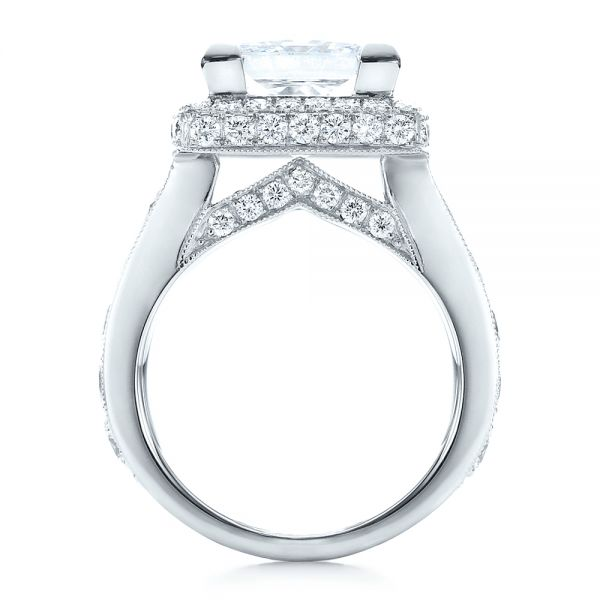 Custom Princess Cut and Halo Engagement Ring - Front View -  100124 - Thumbnail