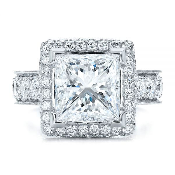 Custom Princess Cut and Halo Engagement Ring - Top View -  100124 - Thumbnail