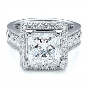 Custom Princess Cut and Halo Engagement Ring