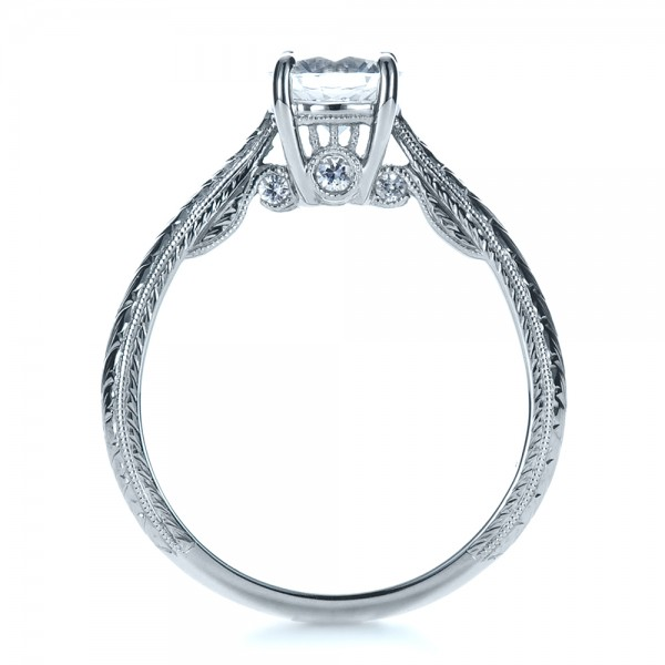 Custom Prong Engagement Ring - Finger Through View