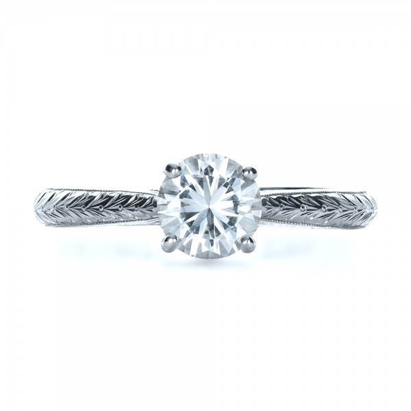 Custom Prong Engagement Ring - Top View