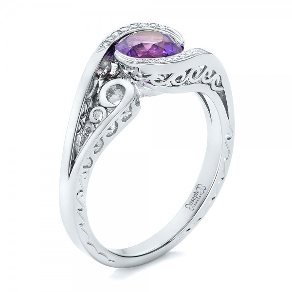 custom purple sapphire and diamond engagement ring 102080 - Purple Wedding Ring