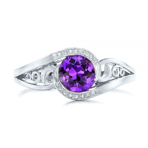 Boston Engagement Rings Custom Jewelry: Custom Purple Sapphire And Diamond Engagement Ring #102080