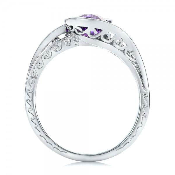Custom Purple Sapphire and Diamond Engagement Ring - Finger Through View