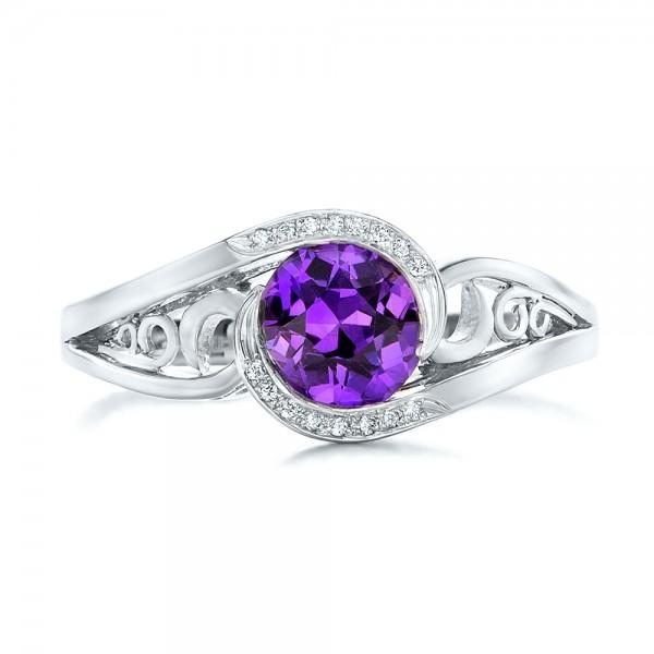 Custom Purple Sapphire and Diamond Engagement Ring - Top View