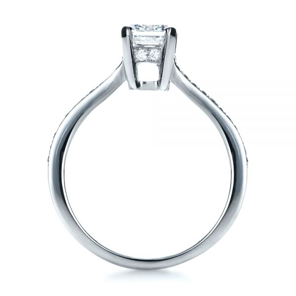 18K White Gold Custom Radiant Cut Diamond Engagement Ring - Front View -  1284 - Thumbnail
