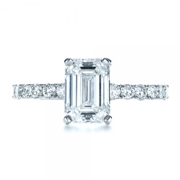 Custom Radiant Cut Diamond Engagement Ring - Top View