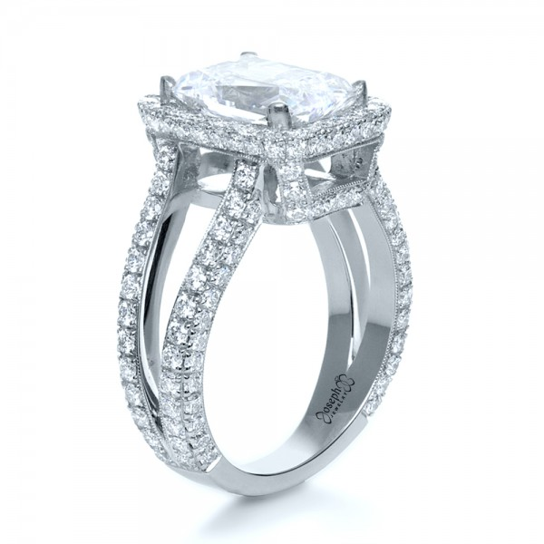 Custom Radiant Cut Diamond and Halo Engagement Ring