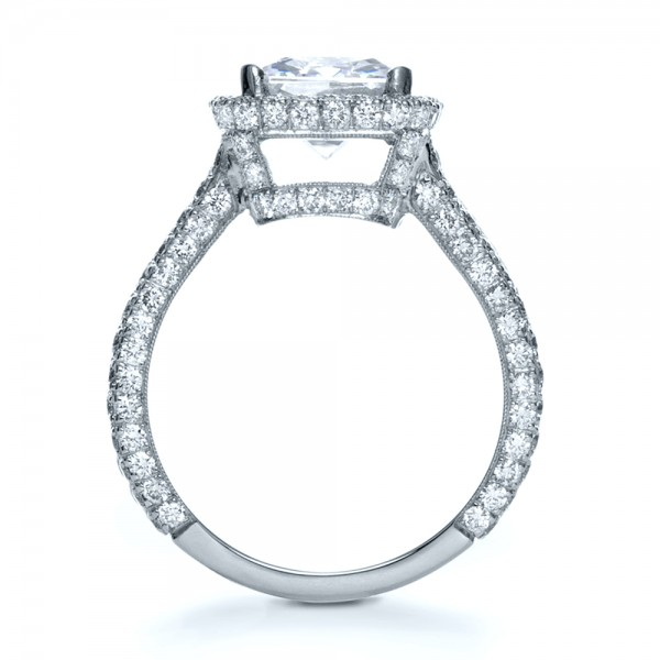 Custom Radiant Cut Diamond and Halo Engagement Ring - Finger Through View