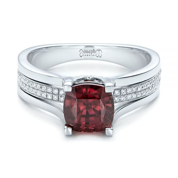 14k White Gold Custom Red Zircon And Diamond Engagement Ring - Flat View -