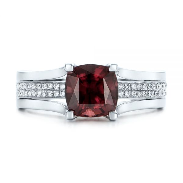 14k White Gold Custom Red Zircon And Diamond Engagement Ring - Top View -