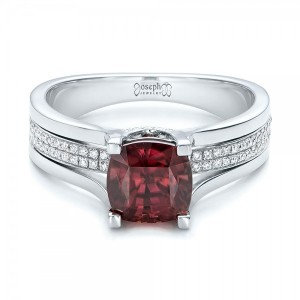 Custom Red Zircon and Diamond Engagement Ring