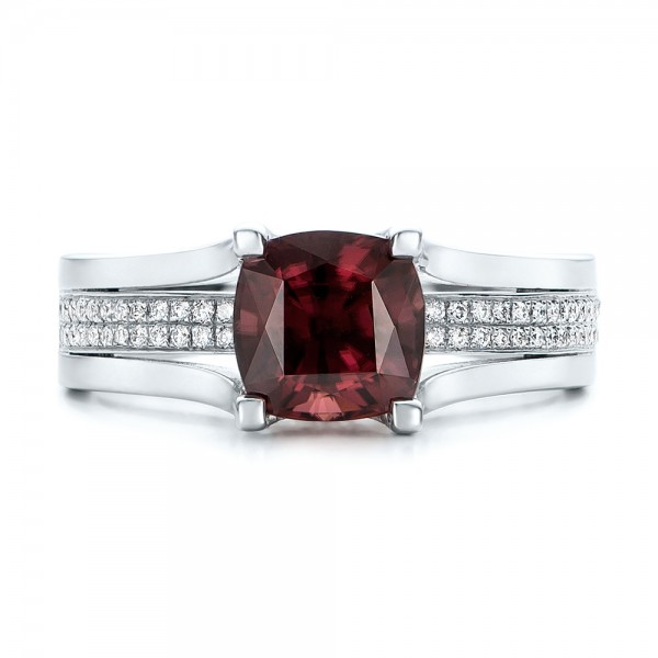 Custom Red Zircon and Diamond Engagement Ring - Top View