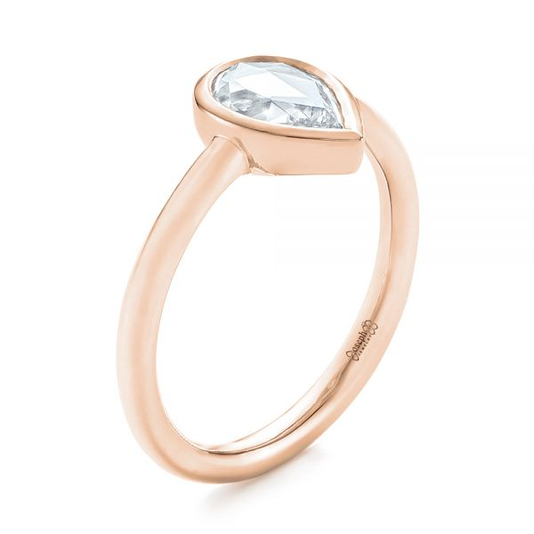 18k Rose Gold 18k Rose Gold Custom Rose Cut Solitaire Bezel Diamond Engagement Ring - Three-Quarter View -  104687