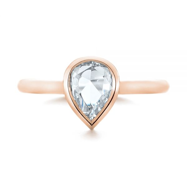 18k Rose Gold 18k Rose Gold Custom Rose Cut Solitaire Bezel Diamond Engagement Ring - Top View -  104687