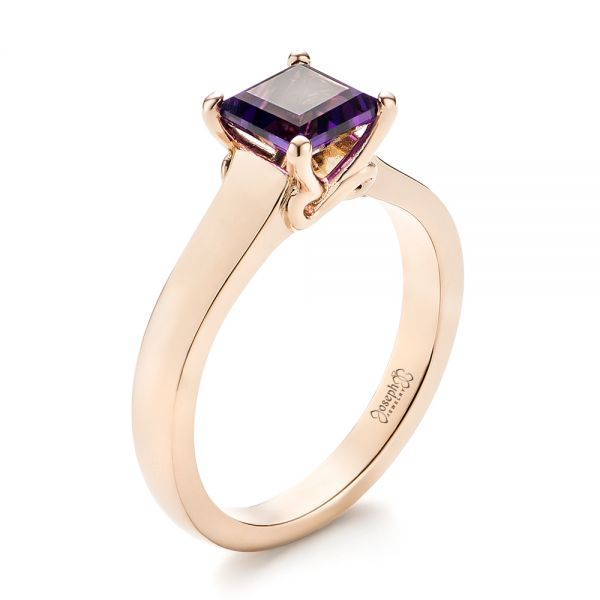 Custom Rose Gold Amethyst Solitaire Engagement Ring - Image