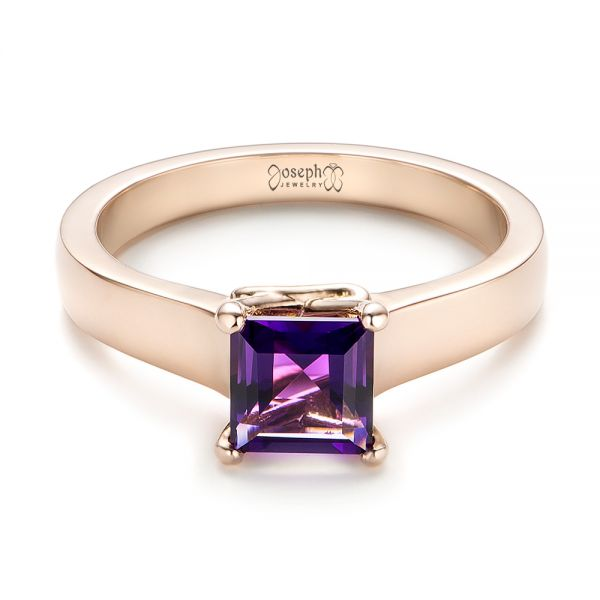 Custom Rose Gold Amethyst Solitaire Engagement Ring - Flat View -  103163 - Thumbnail