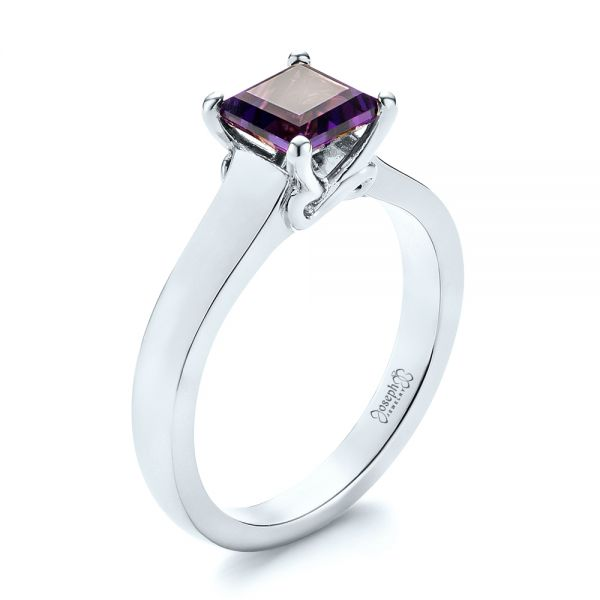 14k White Gold 14k White Gold Custom Amethyst Solitaire Engagement Ring - Three-Quarter View -