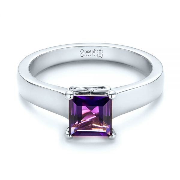 14k White Gold 14k White Gold Custom Amethyst Solitaire Engagement Ring - Flat View -