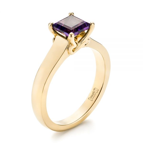 14k Yellow Gold 14k Yellow Gold Custom Amethyst Solitaire Engagement Ring - Three-Quarter View -