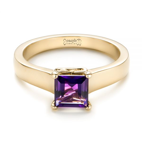 14k Yellow Gold 14k Yellow Gold Custom Amethyst Solitaire Engagement Ring - Flat View -