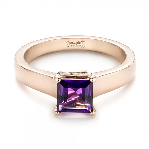 Custom Rose Gold Amethyst Solitaire Engagement Ring - Laying View